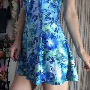 Vintage Swim - Swinging Swimsuit Blue One Piece Dress Skirt